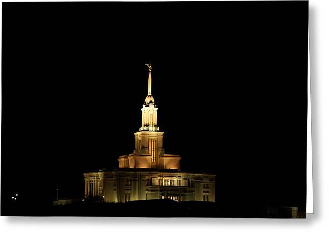 Temple Payson At Night Greeting Card by Gloria Pasko