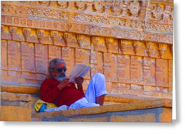 Temple Priest Jaisalmer Fort Rajasthan India Greeting Card by Sue Jacobi