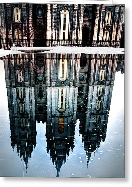 Greeting Card featuring the photograph Temple Reflection by Jim Hill