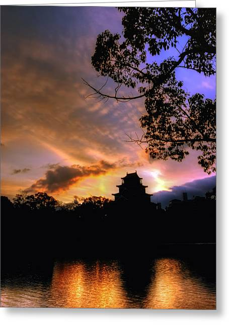 Greeting Card featuring the photograph A Temple Sunset Japan by John Swartz