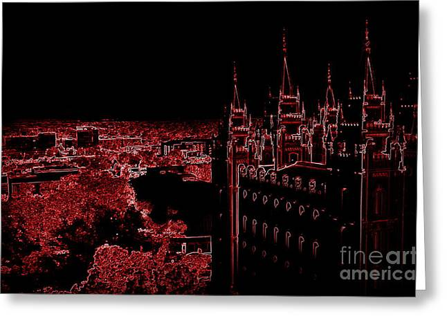 Temple Square In Red Greeting Card