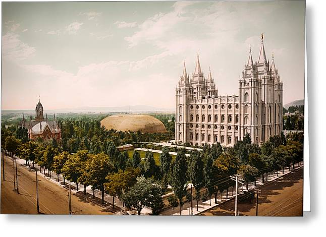 Temple Square Salt Lake City 1899 Greeting Card by Mountain Dreams