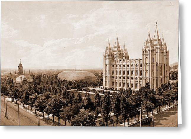 Temple Square, Salt Lake City, Jackson, William Henry Greeting Card by Litz Collection