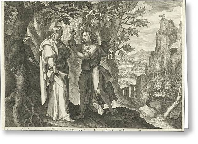 Temptation Of Christ In The Desert, Print Maker Cornelis Greeting Card by Cornelis Galle I And Maerten De Vos