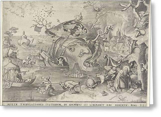 Temptation Of H Anthony, Pieter Van Der Heyden Greeting Card by Pieter Van Der Heyden And Pieter Brueghel (i) And Hieronymus Cock