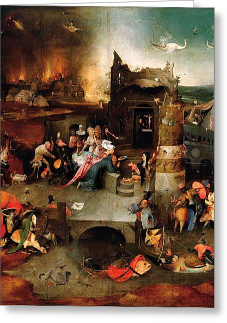 Temptation Of Saint Anthony - Central Panel Greeting Card by Hieronymus Bosch