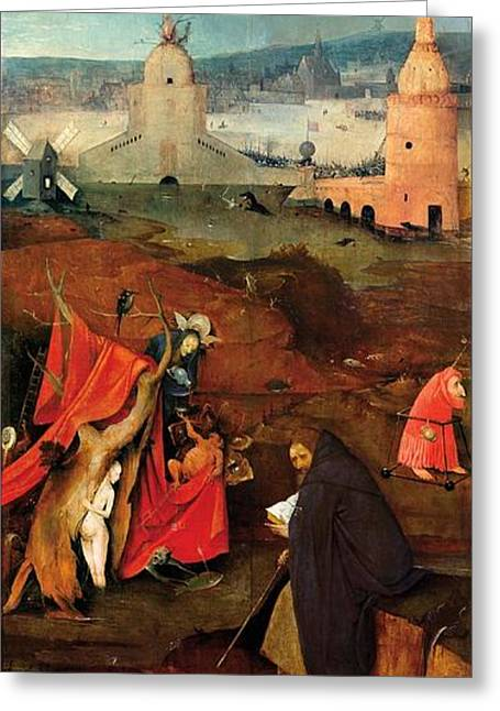 Temptation Of Saint Anthony - Right Wing Greeting Card by Hieronymus Bosch