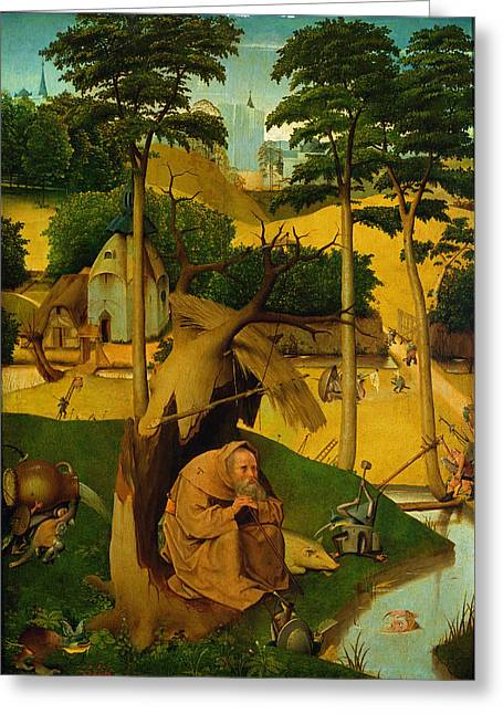 Temptation Of St. Anthony, 1490 Oil On Panel Greeting Card by Hieronymus Bosch