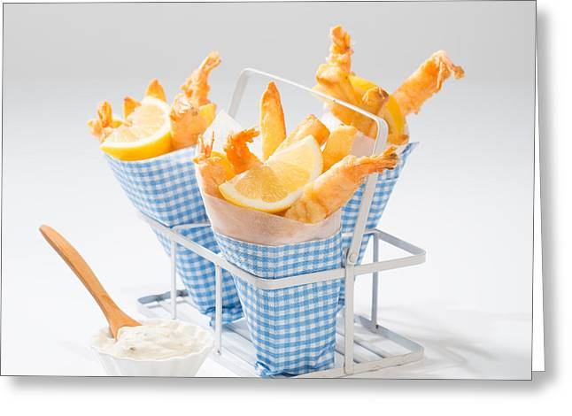 Tempura Prawns Greeting Card by Amanda Elwell