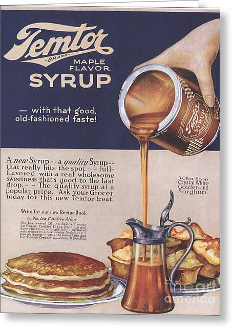 Temtor 1920s Usa Maple Flavoured Syrup Greeting Card by The Advertising Archives
