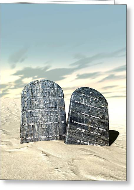 Ten Commandments Standing In The Desert Greeting Card