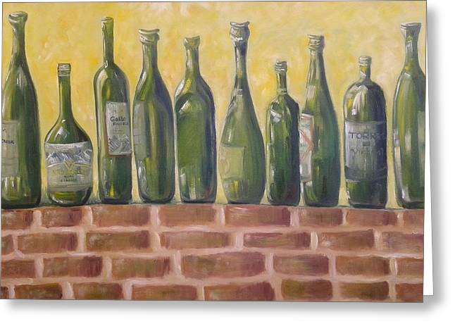 Ten Green Bottles Greeting Card by Lynda Ryan