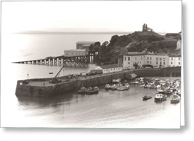 Greeting Card featuring the photograph Tenby Harbour And Castle Hill Vignette by Jeremy Hayden