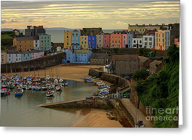 Greeting Card featuring the photograph Tenby Harbour In The Morning by Jeremy Hayden