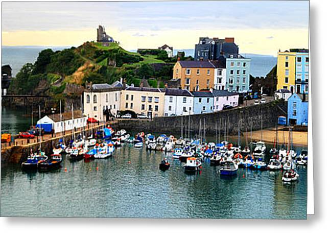 Greeting Card featuring the photograph Tenby Harbour Panorama by Jeremy Hayden