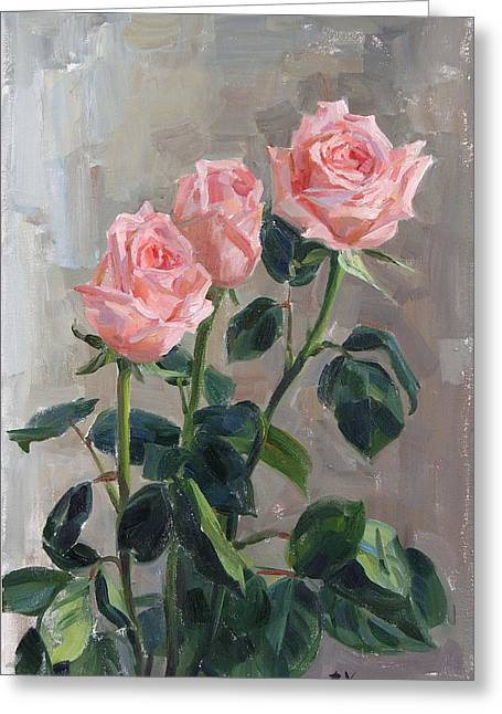 Tender Roses Greeting Card by Victoria Kharchenko