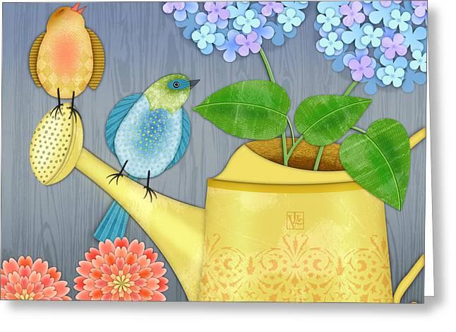 Tending The Garden Greeting Card by Valerie Drake Lesiak