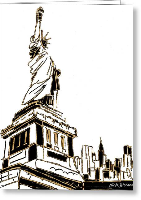 Tenement Liberty Greeting Card by Nicholas Biscardi