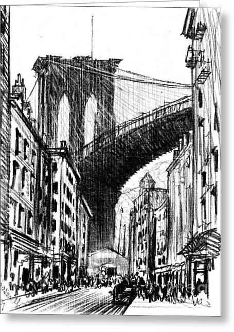 Tenements Near Brooklyn Bridge 1909 Greeting Card by Padre Art