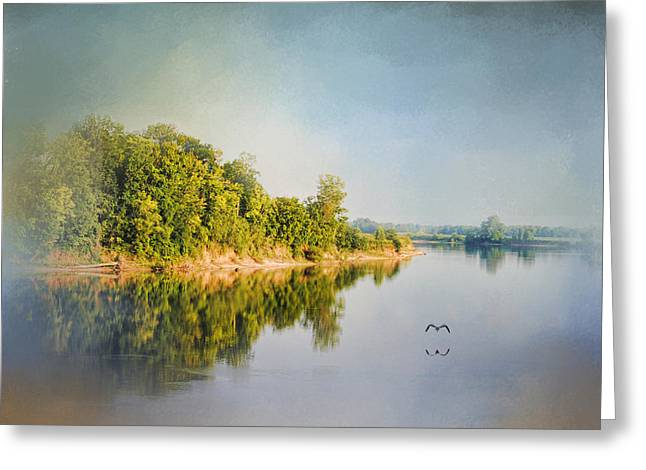Tennessee River Reflections - Water Landscape Greeting Card by Jai Johnson