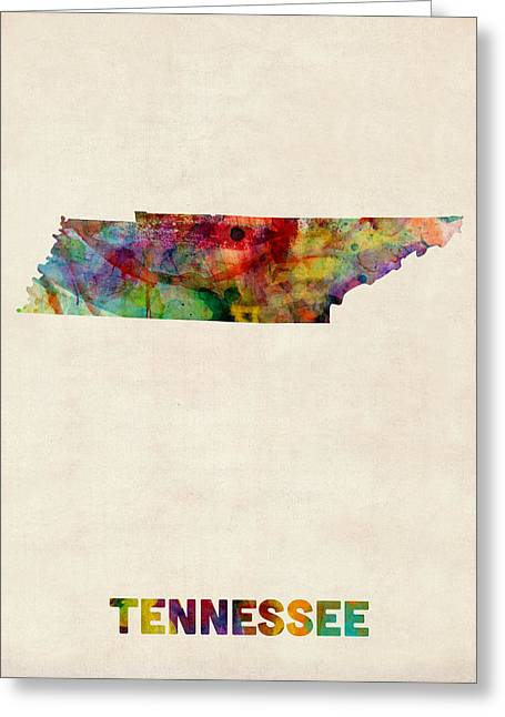 Tennessee Watercolor Map Greeting Card by Michael Tompsett