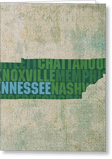 Tennessee Word Art State Map On Canvas Greeting Card