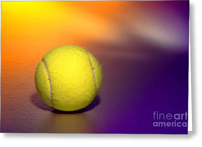 Fluorescent Yellow Greeting Cards - Tennis Ball Greeting Card by Olivier Le Queinec
