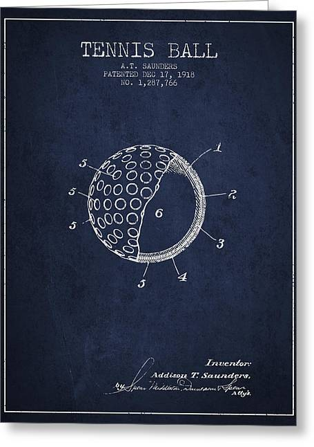 Tennis Ball Patent From 1918 - Navy Blue Greeting Card by Aged Pixel