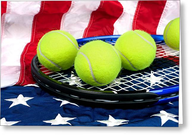 Tennis Equipment On American Flag Greeting Card