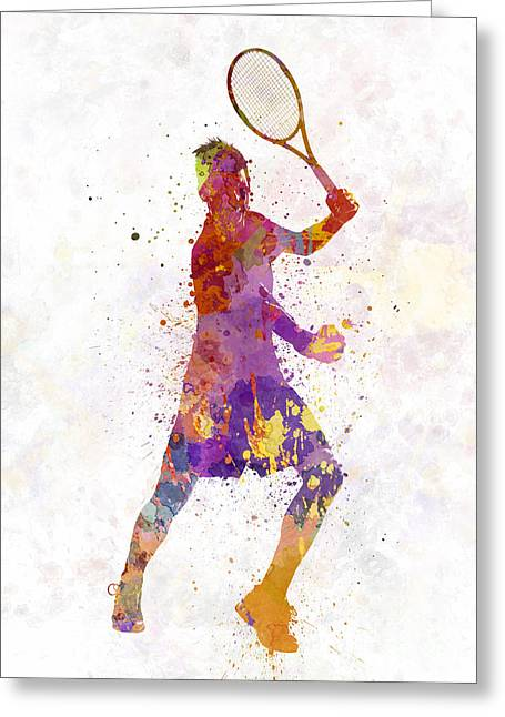 Tennis Player Celebrating In Silhouette 01 Greeting Card by Pablo Romero