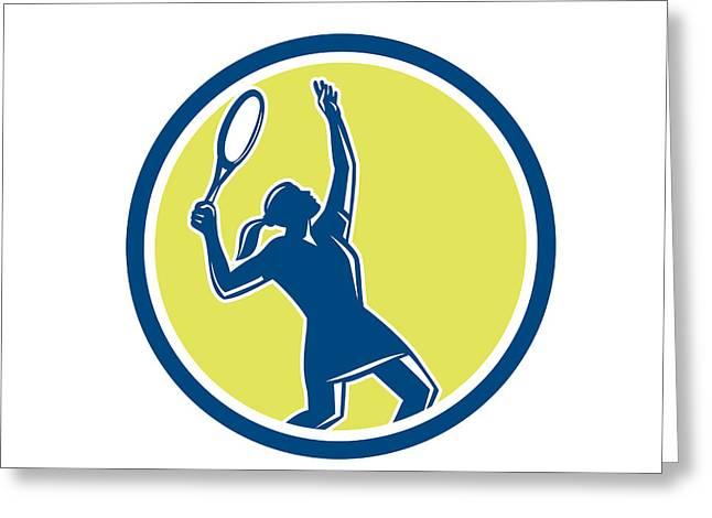 Tennis Player Female Racquet Circle Retro Greeting Card by Aloysius Patrimonio