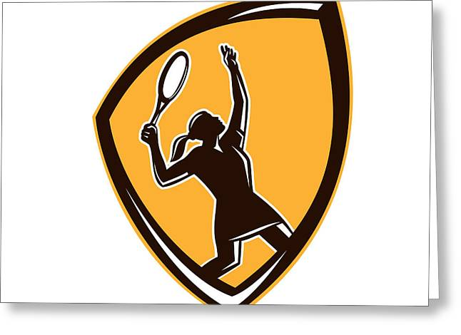 Tennis Player Female Racquet Shield Retro Greeting Card by Aloysius Patrimonio