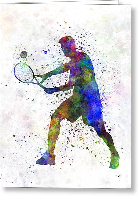 Tennis Player In Silhouette 01 Greeting Card by Pablo Romero