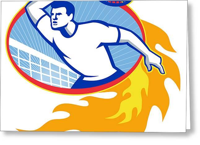 Tennis Player Racquet Retro Greeting Card by Aloysius Patrimonio