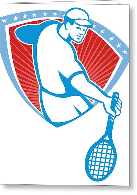 Tennis Player Racquet Shield Retro Greeting Card by Aloysius Patrimonio