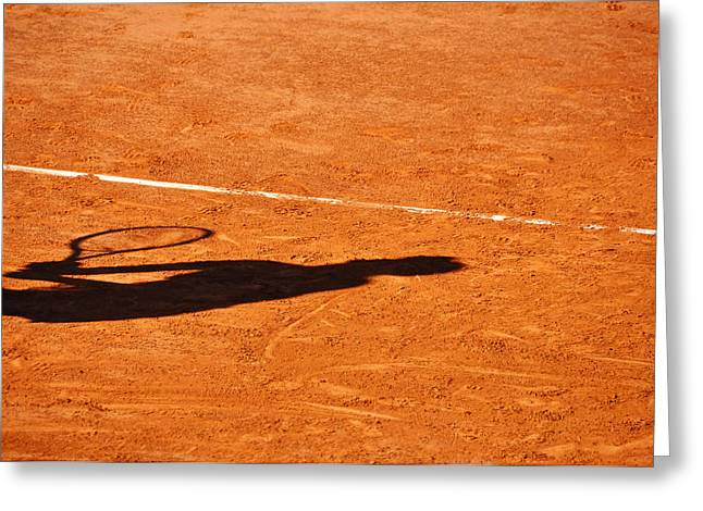 Tennis Player Shadow On A Clay Tennis Court Greeting Card