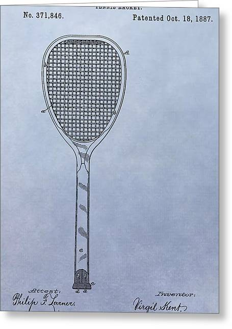 Tennis Racket Patent Greeting Card by Dan Sproul