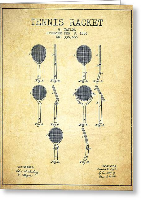 Tennis Racket Patent From 1886 - Vintage Greeting Card by Aged Pixel