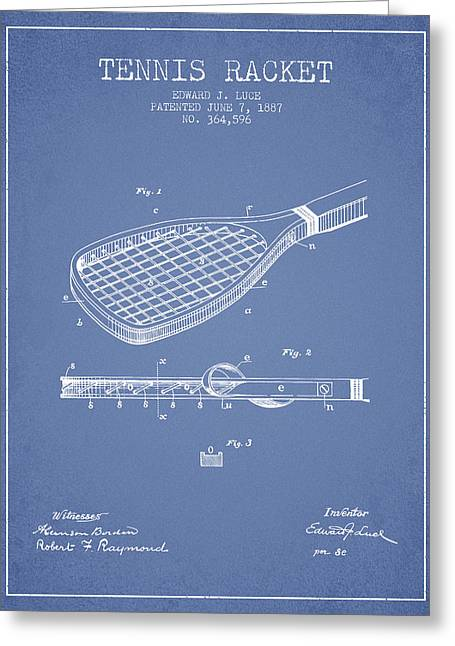 Tennis Racket Patent From 1887 - Light Blue Greeting Card by Aged Pixel
