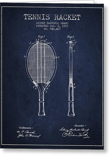 Tennis Racket Patent From 1907 - Navy Blue Greeting Card by Aged Pixel