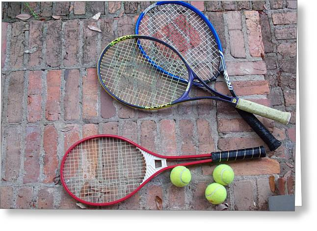 Tennis Time Greeting Card by Annette Allman