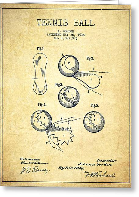 Tennnis Ball Patent Drawing From 1914 - Vintage Greeting Card by Aged Pixel