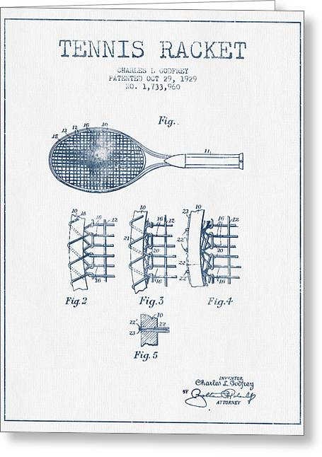 Tennnis Racket Patent Drawing From 1929  -  Blue Ink Greeting Card