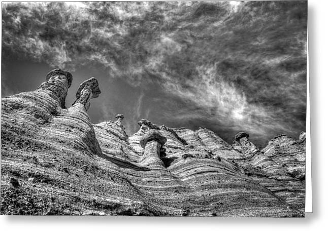 Tent Rocks No. 1 Bw Greeting Card by Dave Garner