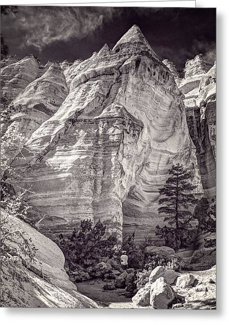 Tent Rocks No. 2 Bw Greeting Card by Dave Garner