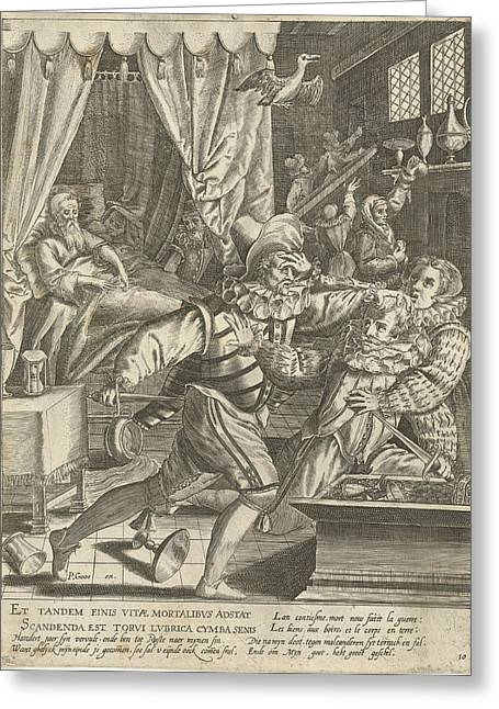 Tenth Life Phase Of Hundred Years With Dying Man And Fight Greeting Card by Assuerus Van Londerseel And Nicolaes De Bruyn And Pieter Goos