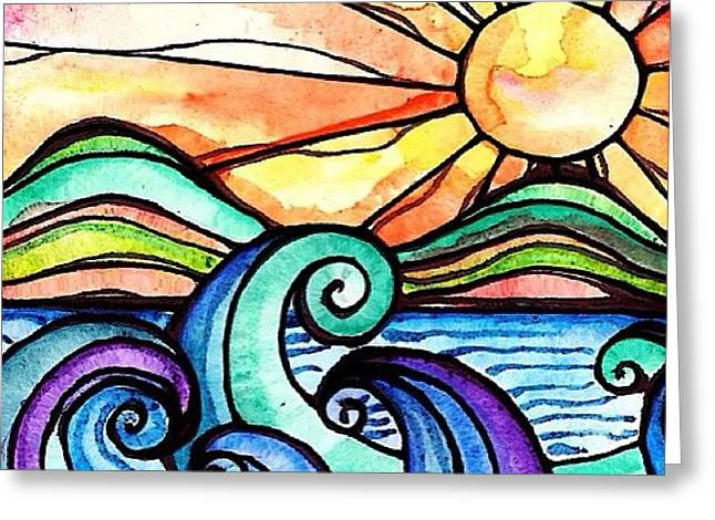 Tequila Sunrise #aceo #artcard #art Greeting Card