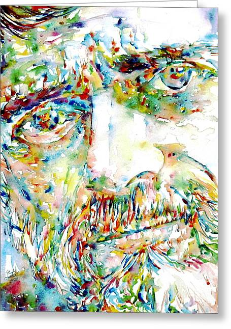 Terence Mckenna Watercolor Portrait.1 Greeting Card by Fabrizio Cassetta