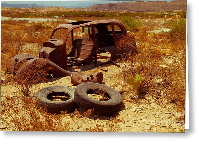 Terlingua Tires Greeting Card by Sonja Quintero
