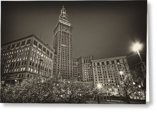 Terminal Tower At Night Greeting Card